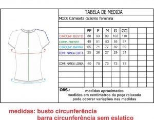 Medidas Camisas Ciclismo Feminino